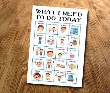 Kids, Boys What I need to do today, Routine chart, Daily Checklist, Kids Planner, With pictures, kids visuals