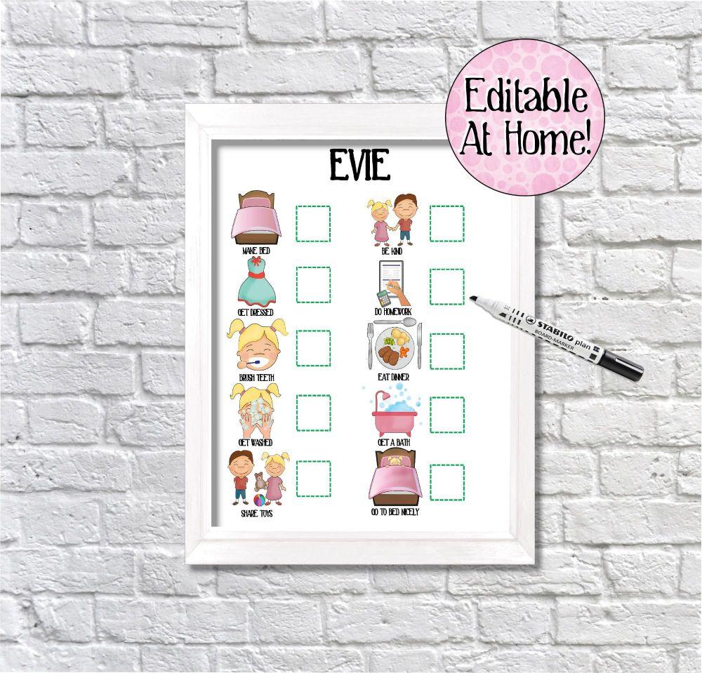 Kids 10 task Behaviour chart, Routine Chart, toddler chart, edit at home, p