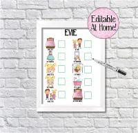 Kids Reward Chart, Editable Routine Chart, Behaviour Chart, DIY chart, toddler chart, visual schedule, daily checklist, kids daily planner