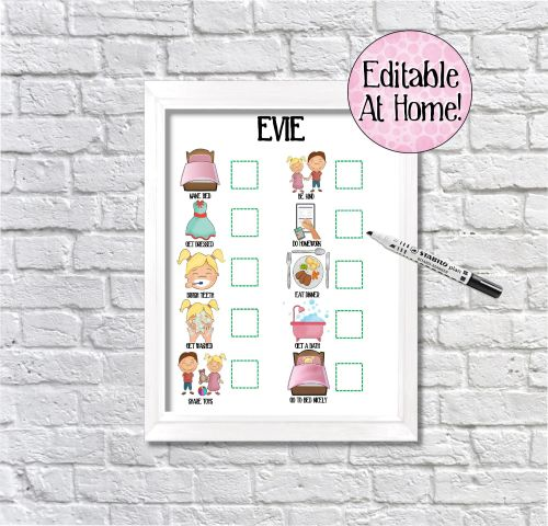 Kids 10 task Behaviour chart, Routine Chart, toddler chart, edit at home, p