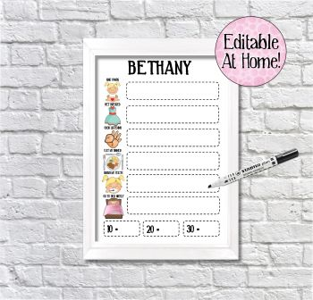 Kids Reward Chart, 6 task chart, edit at home, printable file, with pictures, Reward Chart