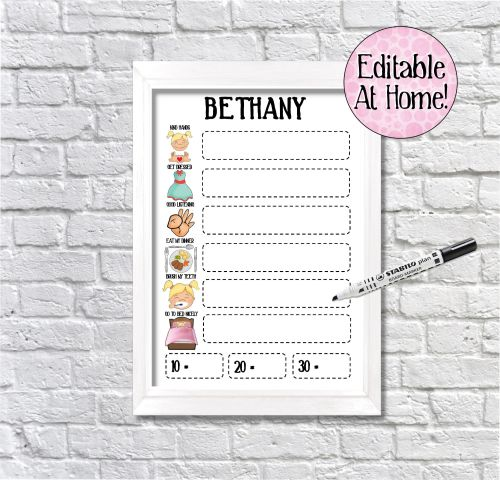 Kids Reward Chart, 6 task chart, edit at home, printable file, with picture