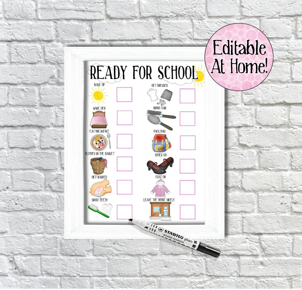 Kids Morning Routine Chart, ready for school chart, edit at home, printable
