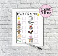 Kids Morning Routine Chart, girls ready for school chart, edit at home, printable file, with pictures, Reward Chart