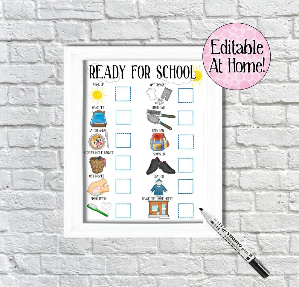 Kids Morning Routine Chart, boys ready for school chart, edit at home, prin