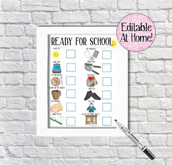 Kids Morning Routine Chart, boys ready for school chart, edit at home, printable file, with pictures, Reward Chart