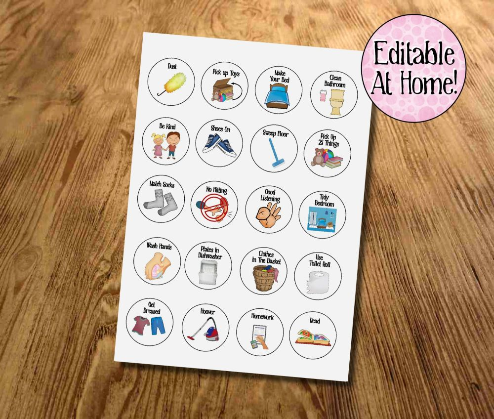 Kids Chores, Kids Routines, Kids Task tokens, download, Edit at Home, With