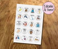 Kids Chores, Kids Routines, Kids Task tokens, download, Edit at Home, With Pictures, printable file