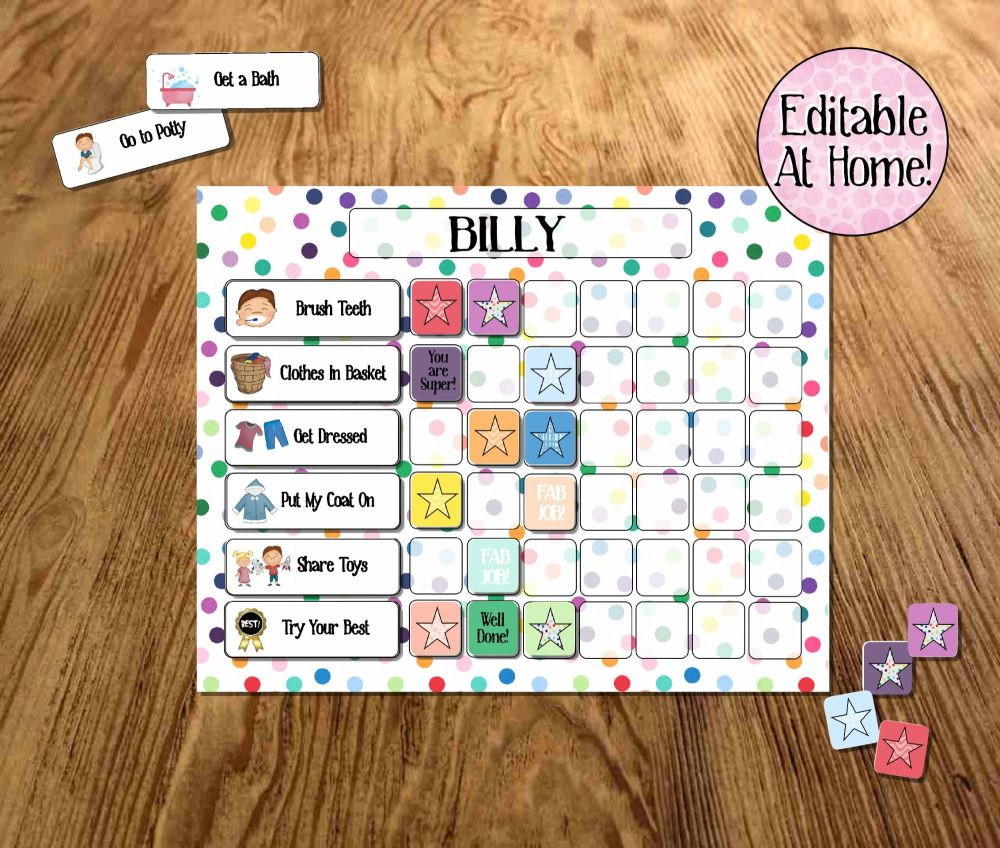 Kids Behaviour chart,  editable printable, Routine Chart, edit at home, pri