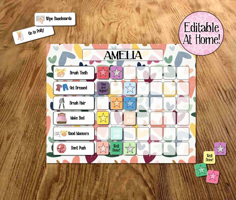 Kids Behaviour chart,  girls editable printable, Routine Chart, edit at hom