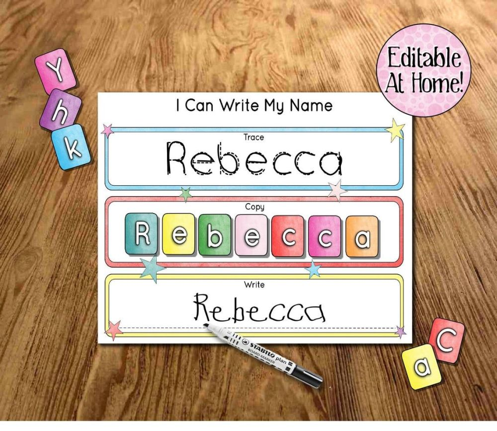Kids learning mat, I can write my name, Editable at home, Learn my name, Sc