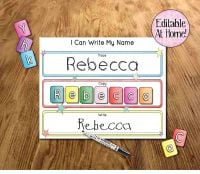 Kids learning mat, I can write my name, Editable at home, Learn my name, School readiness, Printable file, Digital File, Pre-K, Kindergarden