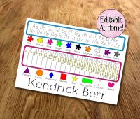 Kids learning mat, Editable at home, with colours, and shapes, Learn my name, School readiness, Printable file, Digital File, Pre-K, Kindergarden
