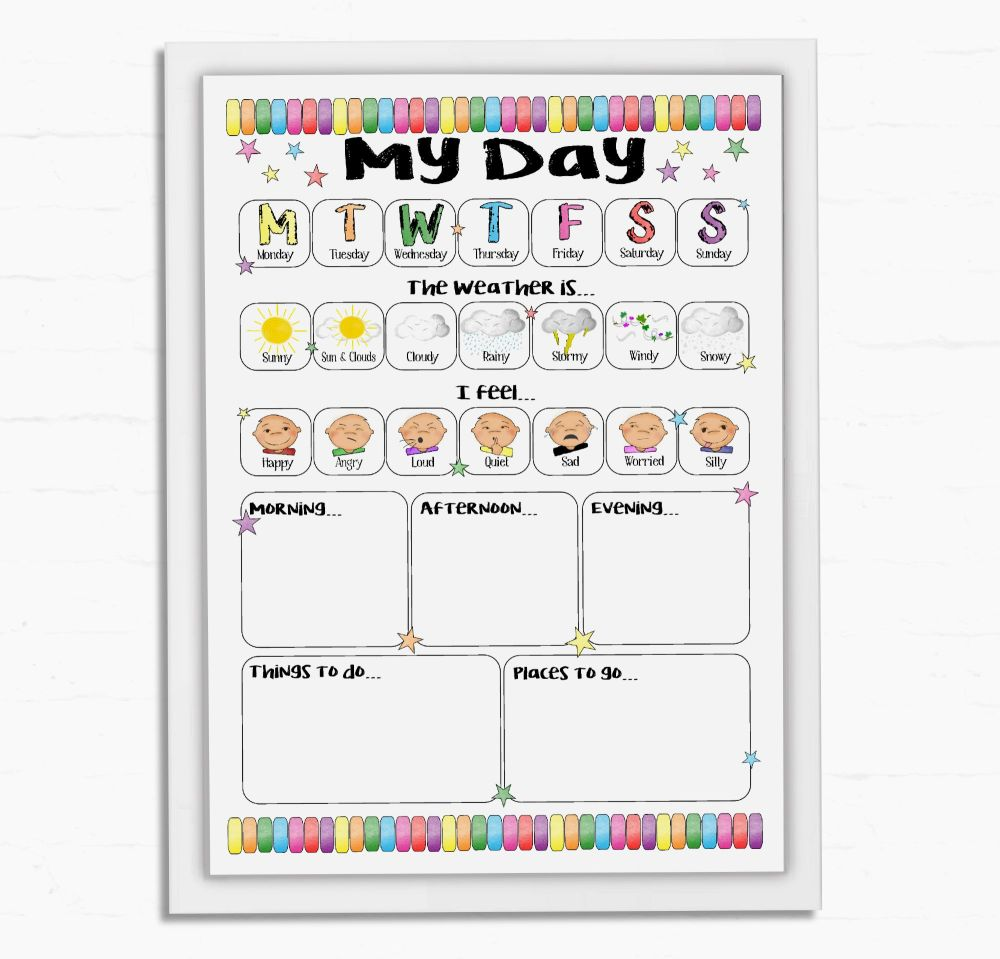 Kids Daily Planner, All about today, Morning Routine, Afternoon Routine, Ev