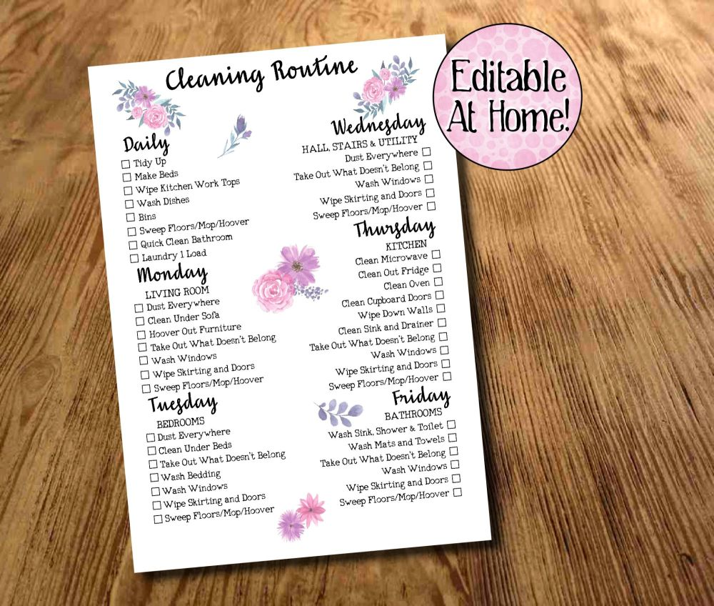 Cleaning Routine, Weekly Cleaning Checklist, Daily Chores, Family Chores Pr