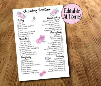 Cleaning Routine, Weekly Cleaning Checklist, Daily Chores, Family Chores Printable, Editable Download, Housework Planner, Digital file