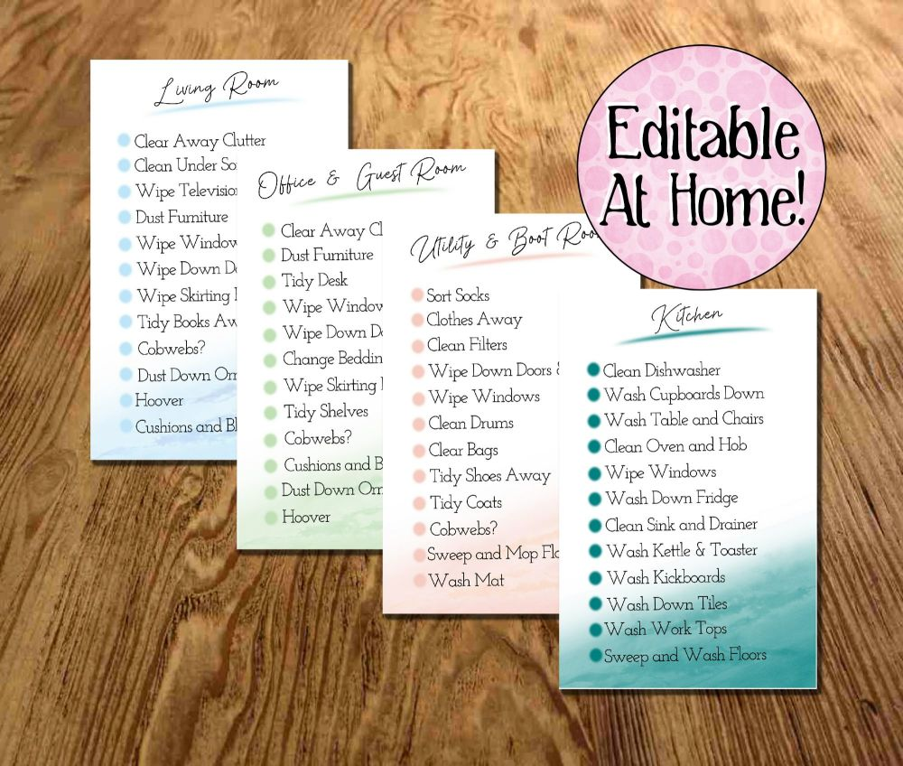 Cleaning Routine Cards, Room Chores, Editable Download, Zone Cleaning Check