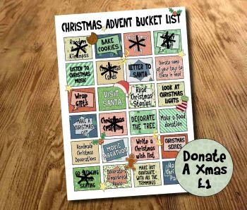 Activity Calendar, Advent Bucket List, Kids Christmas bucket list, Laminated Print *Donate a Xmas £1*