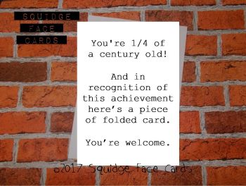 You're 1/4 of a century old! And in recognition of this achievement here's a piece of folded card. You're welcome.
