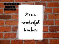 For a wonderful teacher