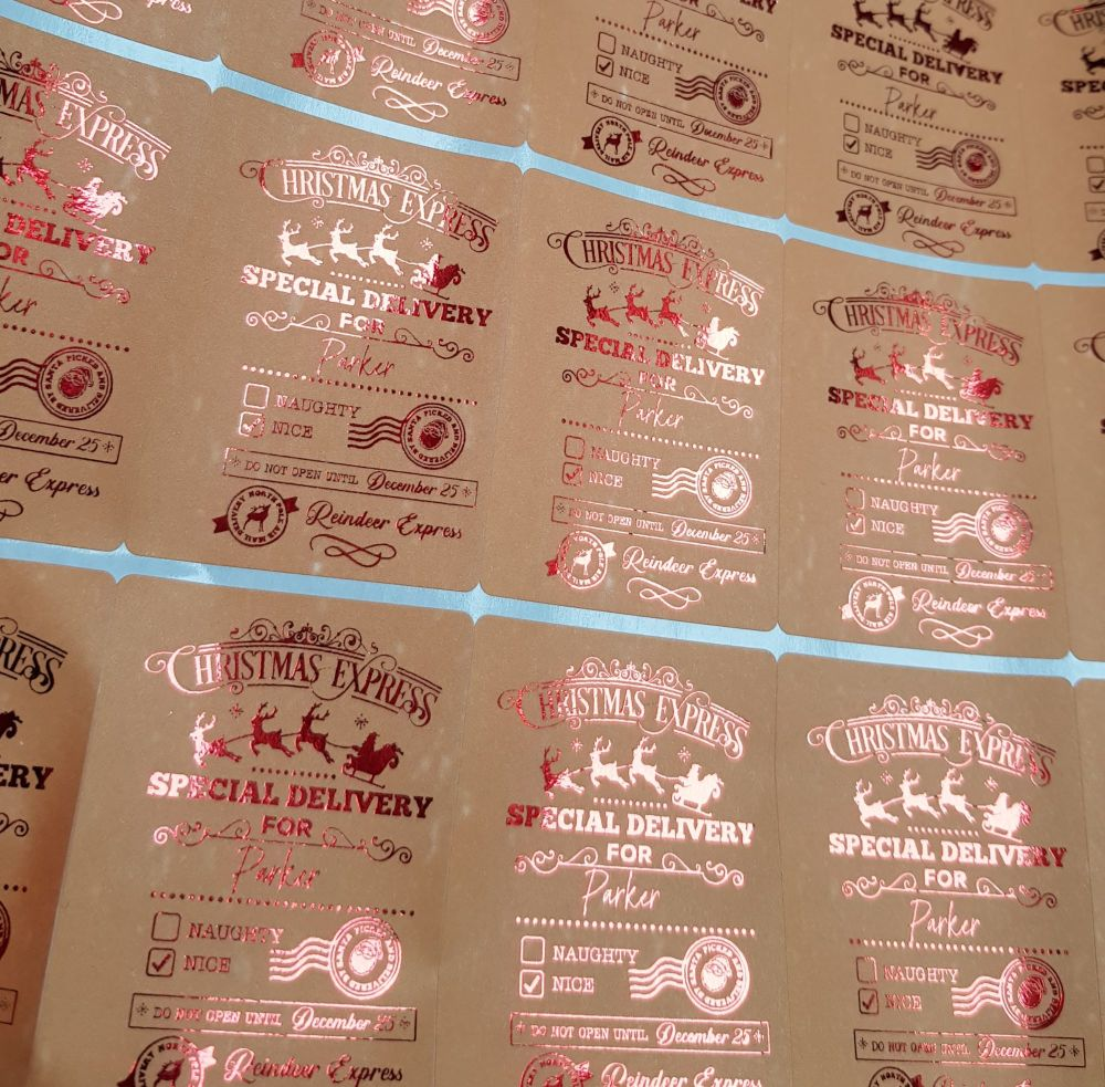 Foiled Santa Special Delivery stickers