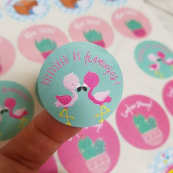 """37mm """"Delivered by flamingos"""" happy mail sticker"""