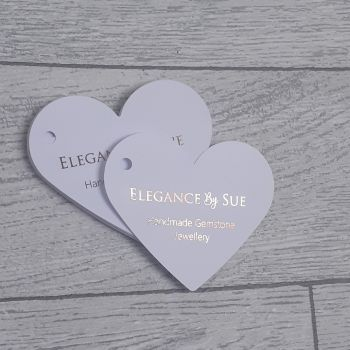 Heart shaped foiled swing tags