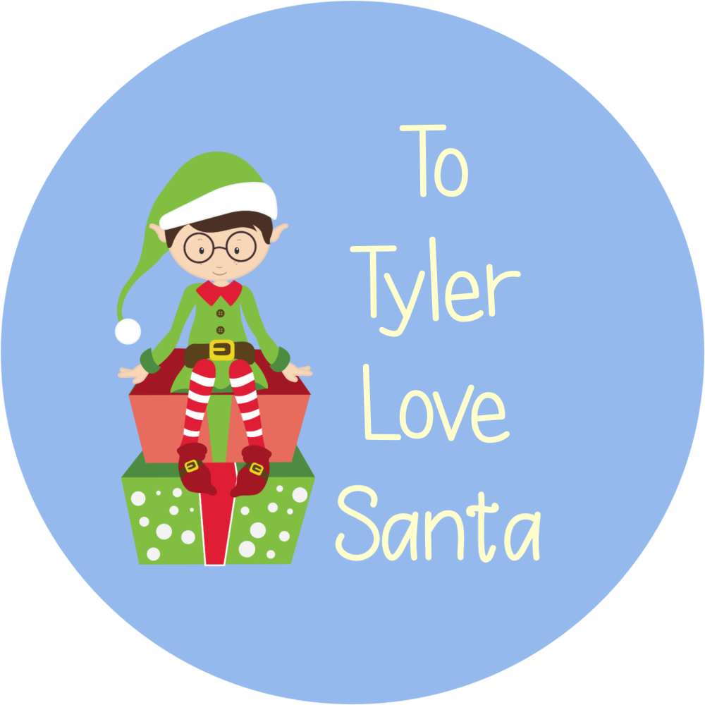 Personalised Christmas stickers -Blue