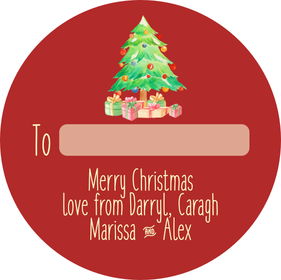 Christmas tree and presents no1 Personalised stickers