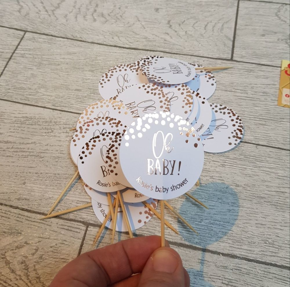 Foiled cupcake toppers