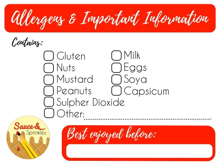 Allergens label: With your logo