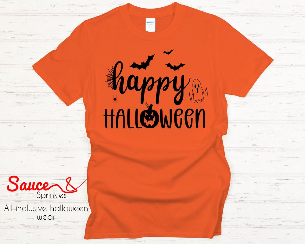 Happy Halloween tees - various colours and designs