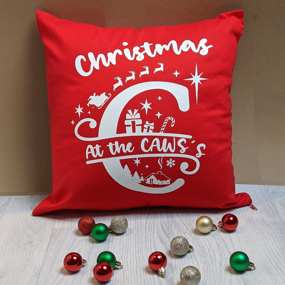 Christmas at the.... Red cushion