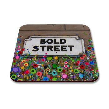 Jo Gough - Bold St Sign Liverpool with flowers Coaster
