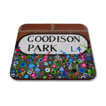Jo Gough - EFC Goodison Park Sign with flowers Coaster