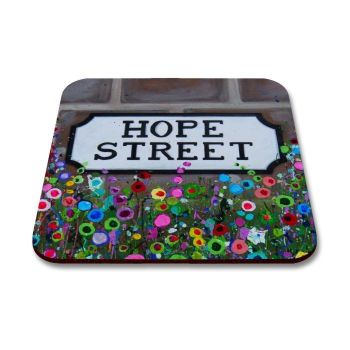 Jo Gough - Hope St Sign Liverpool with flowers Coaster