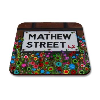 Jo Gough - Mathew St Sign Liverpool with flowers Coaster