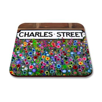 Jo Gough - Charles St Sign Hoole with flowers Coaster