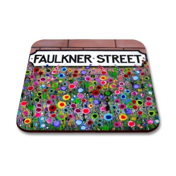 Jo Gough - Faulkner St Sign Hoole with flowers Coaster