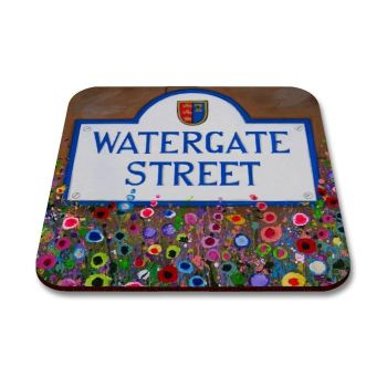 Jo Gough - Watergate St Sign Chester with flowers Coaster