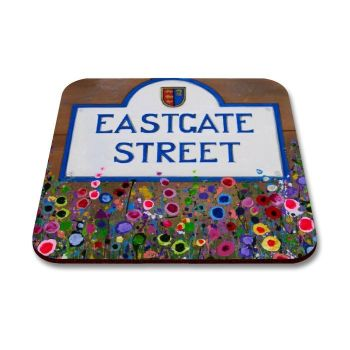 Jo Gough - Chester Eastgate St Sign with flowers Coaster