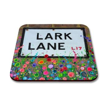 Jo Gough - Lark Lane St Sign Liverpool with flowers Coaster