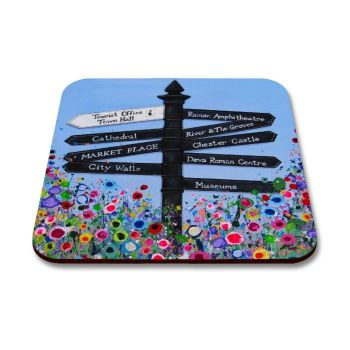 Jo Gough - Chester Finger Post with flowers Coaster