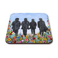 Jo Gough - Beatles Statues with flowers Coaster