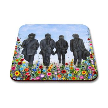 Jo Gough - The Beatles Statues with flowers Coaster