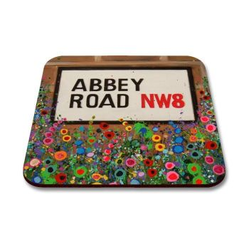 Jo Gough - The Beatles Abbey Road St Sign with flowers Coaster
