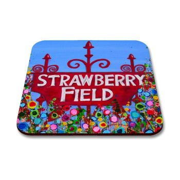 Jo Gough - The Beatles Strawberry Field Sign with flowers Coaster