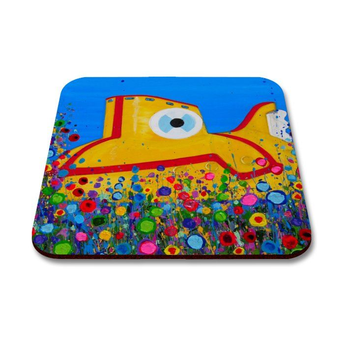Jo Gough The Beatles Yellow Submarine With Flowers Coaster