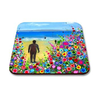 Jo Gough - Crosby Beach Iron Men with flowers Coaster