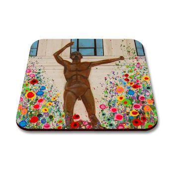Jo Gough - Lewis's Epstein Statue Liverpool with flowers Coaster